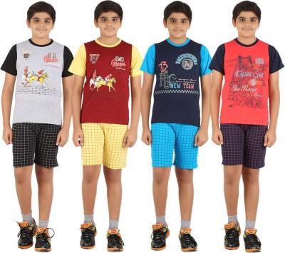 Zippy Boy's Printed Grey, Maroon, Dark Blue, Orange Top & Shorts Set