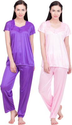 LeSuzaki Women's Solid Purple, Pink Top & Pyjama Set