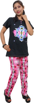 Indiatrendzs Women's Printed Pink, Black Top & Pyjama Set