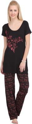 She N She Women's Printed Orange Top & Pyjama Set
