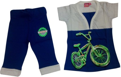Tomato Girl's Printed Blue Top & Pyjama Set