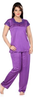 Ishin Women's Solid Purple Top & Pyjama Set