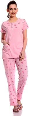 TAB91 Praveen Women's Printed Pink Top & Pyjama Set