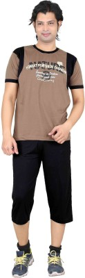 Premium Plus Men's Printed Brown, Black T-shirt & Three-forth Set