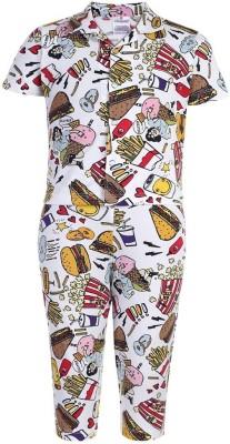Ollypop Baby Boy's Printed Multicolor Top & Pyjama Set