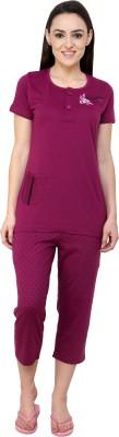 Glasgow Women's Printed Purple Top & Capri Set