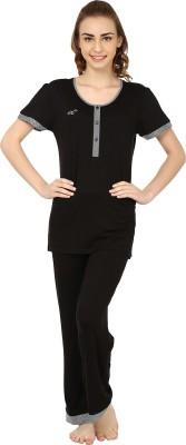 She N She Solid Appeal Women's Solid Black, White Top & Pyjama Set