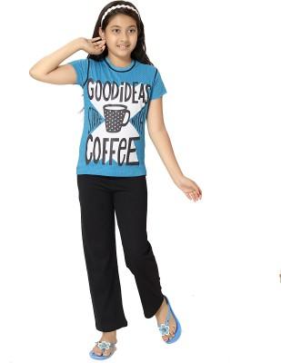 Elite Girl's Printed Light Blue Top & Pyjama Set