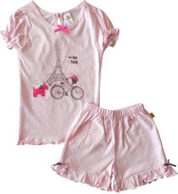 Tiny Bee Girl's Printed Pink Top & Shorts Set