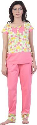New Darling Luminous Fantasy Women's Printed Yellow, Pink Top & Pyjama Set