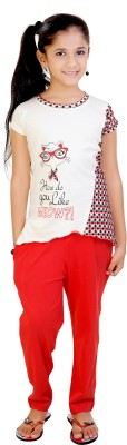 Red Ring Girl's Graphic Print White, Red Top & Pyjama Set
