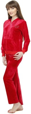 Camey Women's Self Design Red Top & Pyjama Set