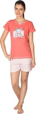 Lazy Dazy Women's Printed Pink, White Top & Shorts Set