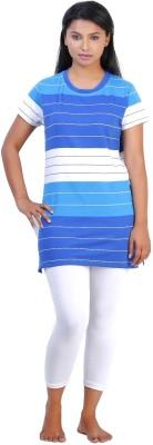July Cotton Two Piece Women's Solid Blue, White Top & Capri Set