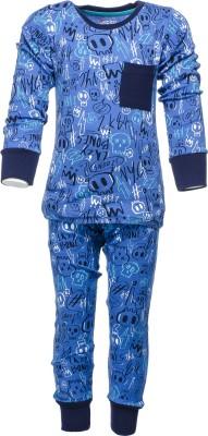 Pepito Boy's Printed Blue Top & Pyjama Set