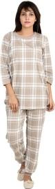 9teenAGAIN Women's Checkered Brown Top & Pyjama Set