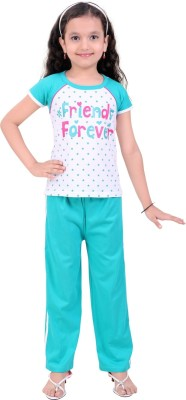 Be 13 Girl's Printed Green Top & Pyjama Set