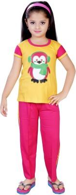 13 in Girl's Printed Yellow Top & Pyjama Set