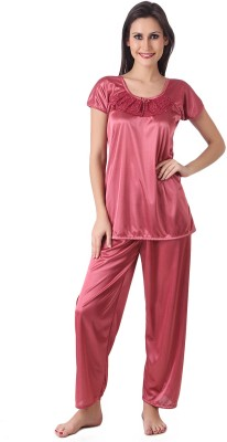 Masha Women's Solid Pink Top & Pyjama Set