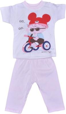 Johny Johny Yes Papa Baby Boy,s Self Design Pink, White Top & Pyjama Set