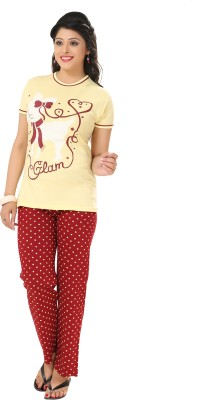 Div Women's Printed Yellow Top & Pyjama Set