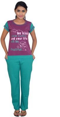 CKL Women's Solid Maroon Top & Pyjama Set
