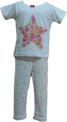 Instyle Girl's Printed White Top & Pyjama Set
