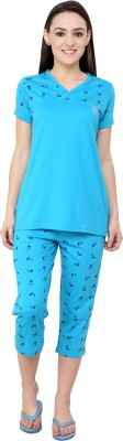 TAB91 Silvosky Butterfly Women's Printed Light Blue Top & Capri Set
