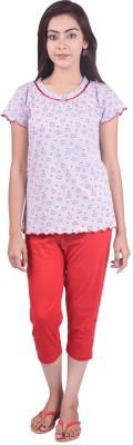 Limeberry Women's Printed Red Top & Pyjama Set