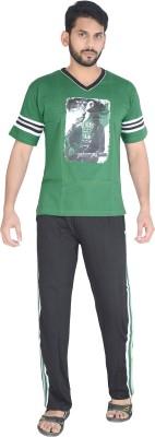 Speed Ball Men's Printed Green, Black Top & Pyjama Set