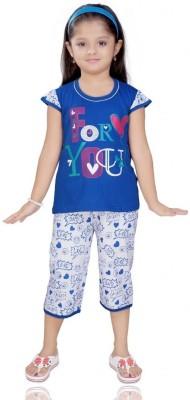 Mint Girl,s Printed Blue Top & Pyjama Set