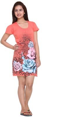 IN Love Women's Floral Print Orange Sleepshirt