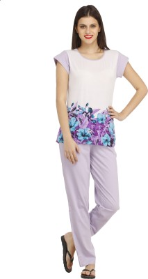 Cottinfab Women's Printed Purple, Multicolor Top & Pyjama Set