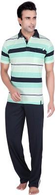 TATWAM Men's Striped Green Top & Pyjama Set