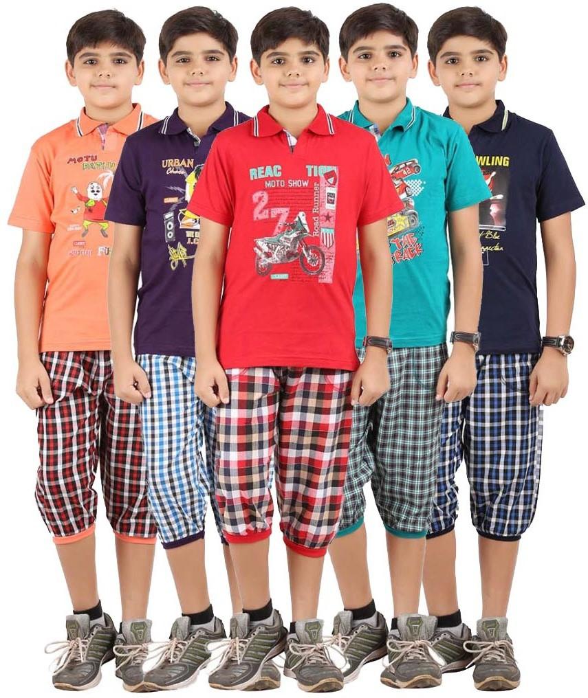 Meril Boys Checkered Red, Orange, Green, Purple, Dark Blue T-shirt & Three-forth Set