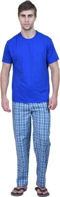 Habitude Men's Checkered Blue Top & Pyjama Set