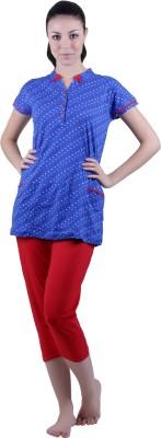 Vixenwrap Women's Polka Print Red, Blue Top & Capri Set