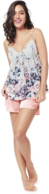 Mystere Paris Women's Printed Pink Top & Shorts Set