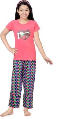 Kombee Girl's Printed Red, Purple Top & Pyjama Set
