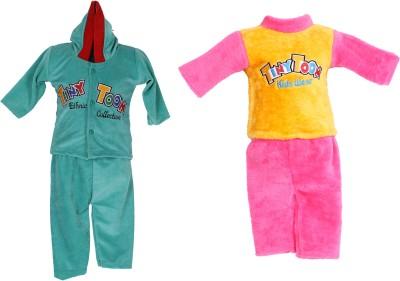 Tiny Toon Baby Boy's Printed Green, Pink Top & Pyjama Set