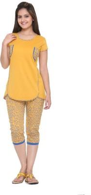 IN Love Women's Printed Yellow Top & Capri Set