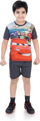 Just4You Boy's Printed Multicolor Top & Shorts Set