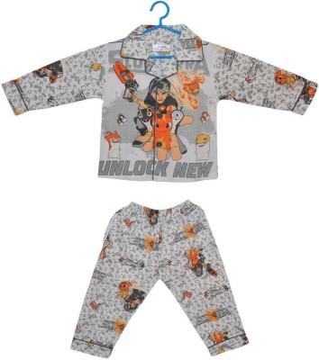 Baby Bucket Baby Boy's Printed Grey Top & Pyjama Set