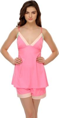 Clovia Women's Solid Pink Top & Shorts Set