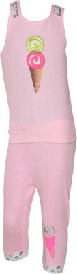 EverSaver Girl's Applique Pink Top & Capri Set