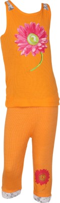EverSaver Baby Girl's Applique Orange Top & Capri Set