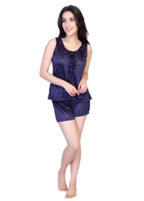 Viji's Collection Women's Solid Blue Top & Shorts Set at flipkart