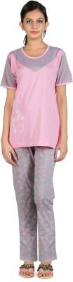 Elite Women's Printed Pink Top & Pyjama Set