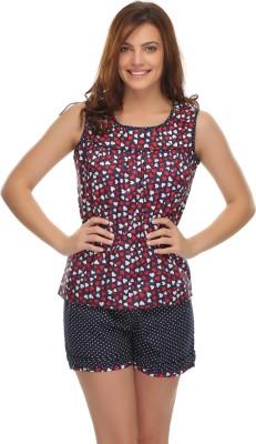 Clovia Women's Printed Blue Top & Shorts Set