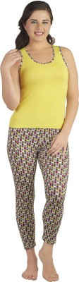 Soie Women's Printed Light Green Top & Pyjama Set at flipkart